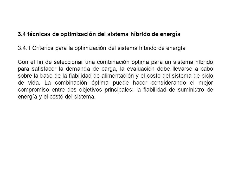3.4 técnicas de optimización del sistema híbrido de energía