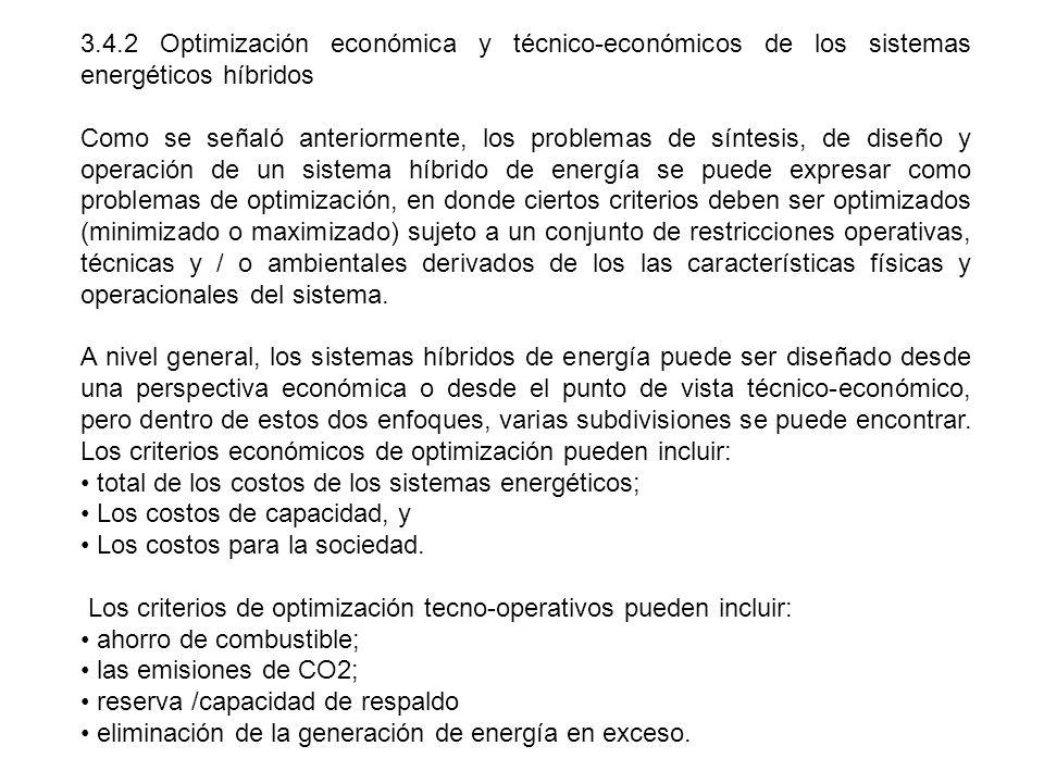 3.4.2 Optimización económica y técnico-económicos de los sistemas energéticos híbridos
