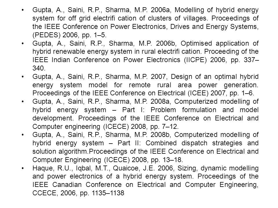 •. Gupta, A. , Saini, R. P. , Sharma, M. P