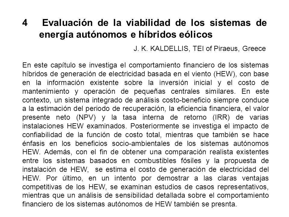 4 Evaluación de la viabilidad de los sistemas de