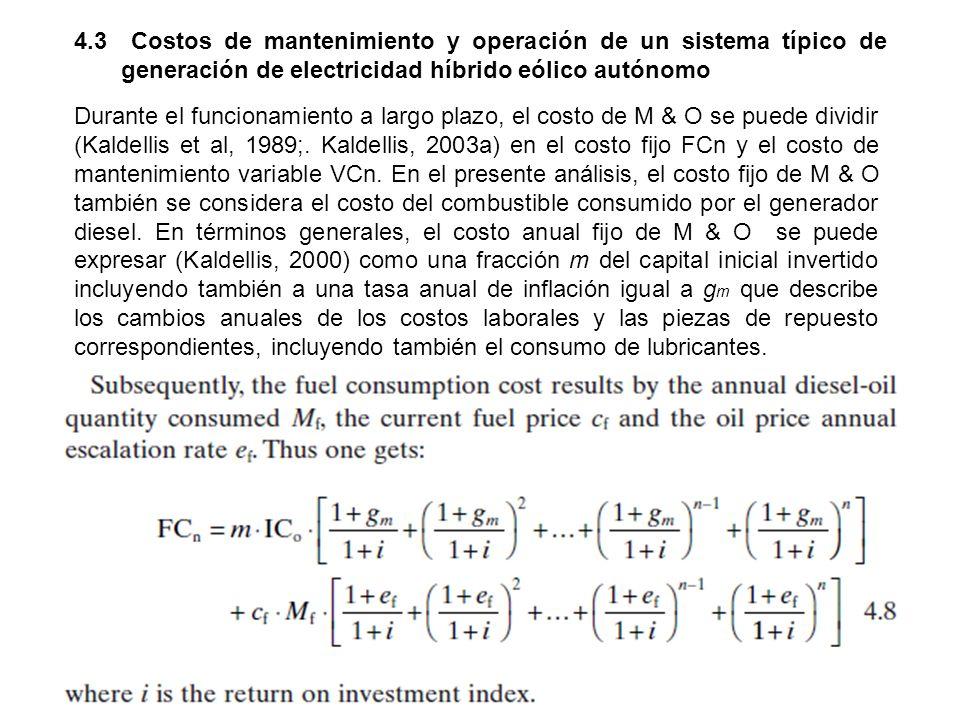 4.3 Costos de mantenimiento y operación de un sistema típico de generación de electricidad híbrido eólico autónomo