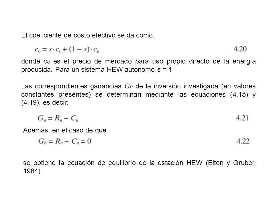 El coeficiente de costo efectivo se da como: