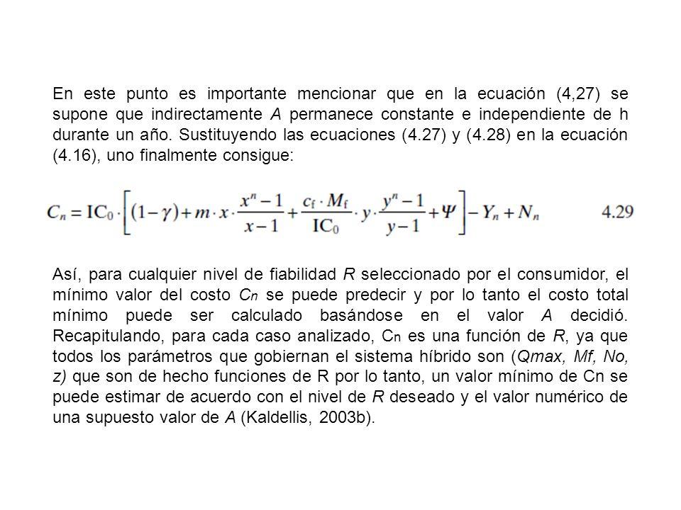 En este punto es importante mencionar que en la ecuación (4,27) se supone que indirectamente A permanece constante e independiente de h durante un año. Sustituyendo las ecuaciones (4.27) y (4.28) en la ecuación (4.16), uno finalmente consigue: