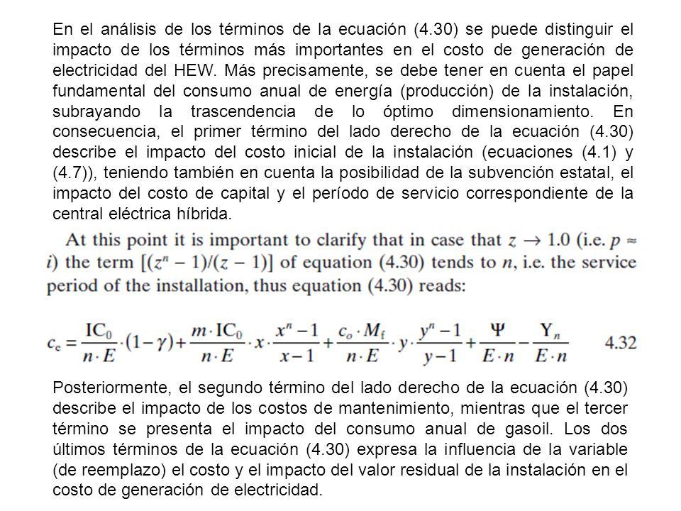 En el análisis de los términos de la ecuación (4