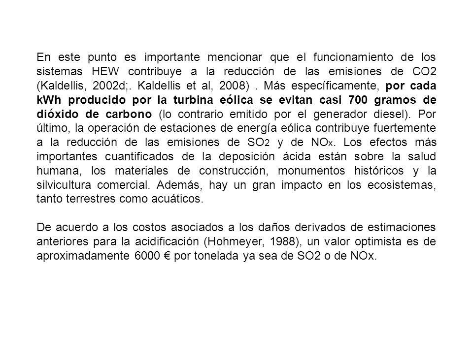 En este punto es importante mencionar que el funcionamiento de los sistemas HEW contribuye a la reducción de las emisiones de CO2 (Kaldellis, 2002d;. Kaldellis et al, 2008) . Más específicamente, por cada kWh producido por la turbina eólica se evitan casi 700 gramos de dióxido de carbono (lo contrario emitido por el generador diesel). Por último, la operación de estaciones de energía eólica contribuye fuertemente a la reducción de las emisiones de SO2 y de NOx. Los efectos más importantes cuantificados de la deposición ácida están sobre la salud humana, los materiales de construcción, monumentos históricos y la silvicultura comercial. Además, hay un gran impacto en los ecosistemas, tanto terrestres como acuáticos.
