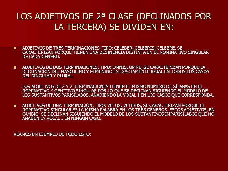 LOS ADJETIVOS DE 2ª CLASE (DECLINADOS POR LA TERCERA) SE DIVIDEN EN: