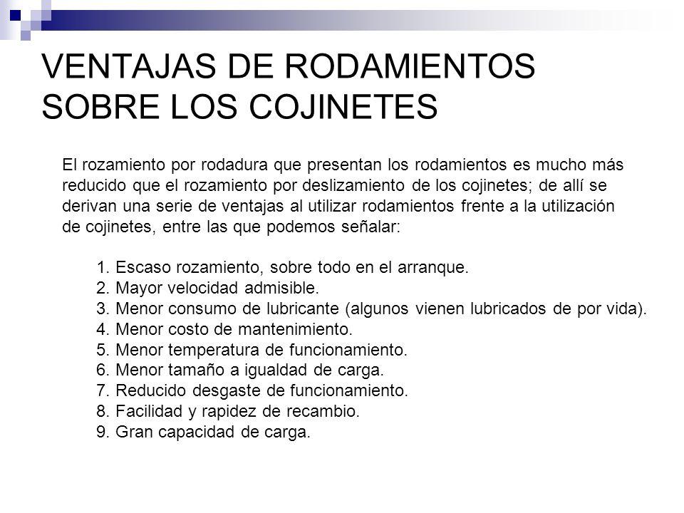 VENTAJAS DE RODAMIENTOS SOBRE LOS COJINETES