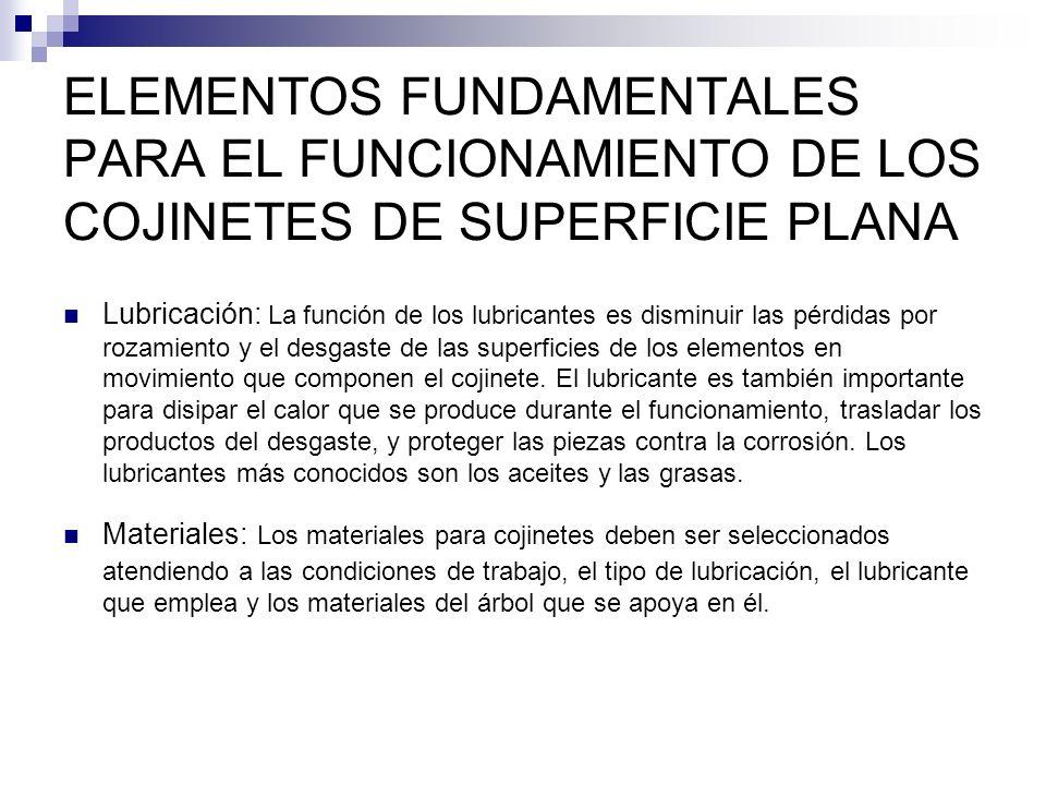 ELEMENTOS FUNDAMENTALES PARA EL FUNCIONAMIENTO DE LOS COJINETES DE SUPERFICIE PLANA