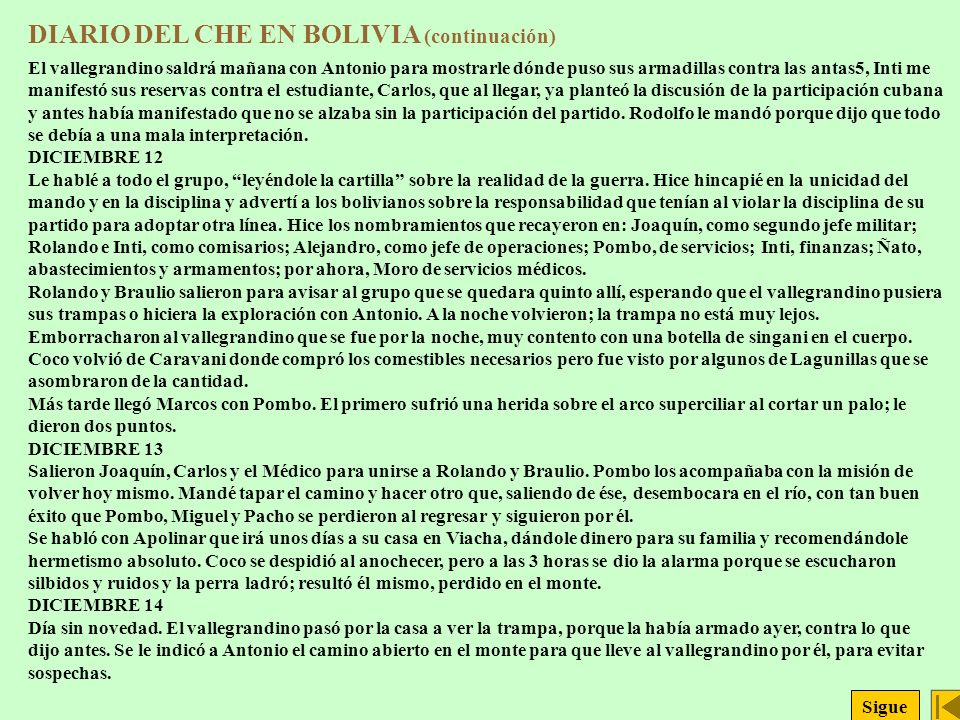 DIARIO DEL CHE EN BOLIVIA (continuación)