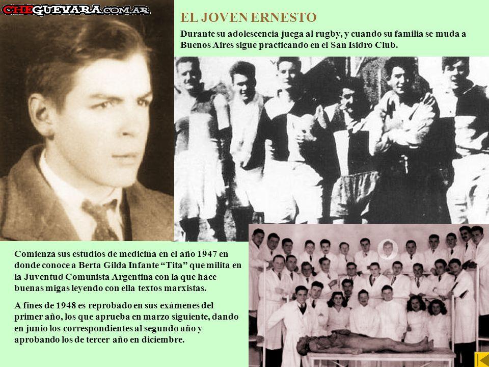 EL JOVEN ERNESTO Durante su adolescencia juega al rugby, y cuando su familia se muda a Buenos Aires sigue practicando en el San Isidro Club.