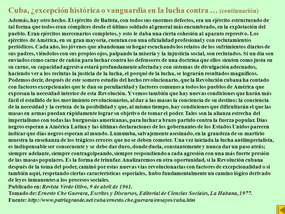 Cuba, ¿excepción histórica o vanguardia en la lucha contra … (continuación)