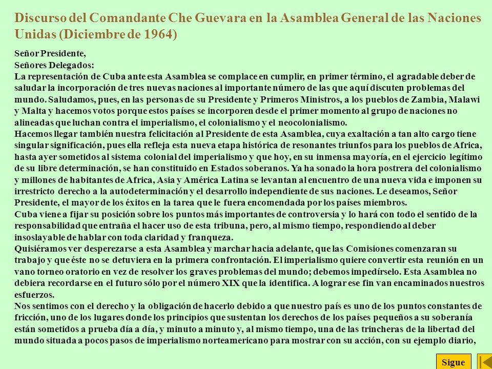 Discurso del Comandante Che Guevara en la Asamblea General de las Naciones Unidas (Diciembre de 1964)