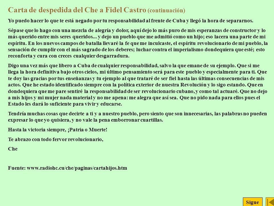 Carta de despedida del Che a Fidel Castro (continuación)