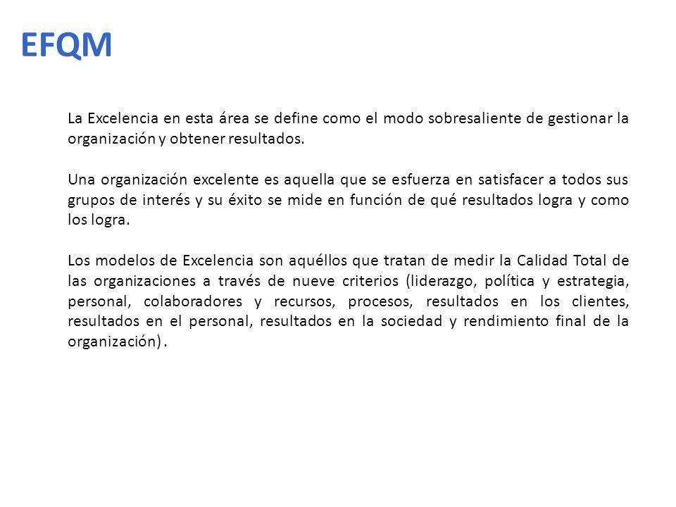 EFQM La Excelencia en esta área se define como el modo sobresaliente de gestionar la organización y obtener resultados.