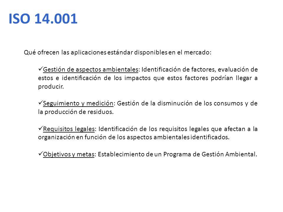 ISO 14.001 Qué ofrecen las aplicaciones estándar disponibles en el mercado: