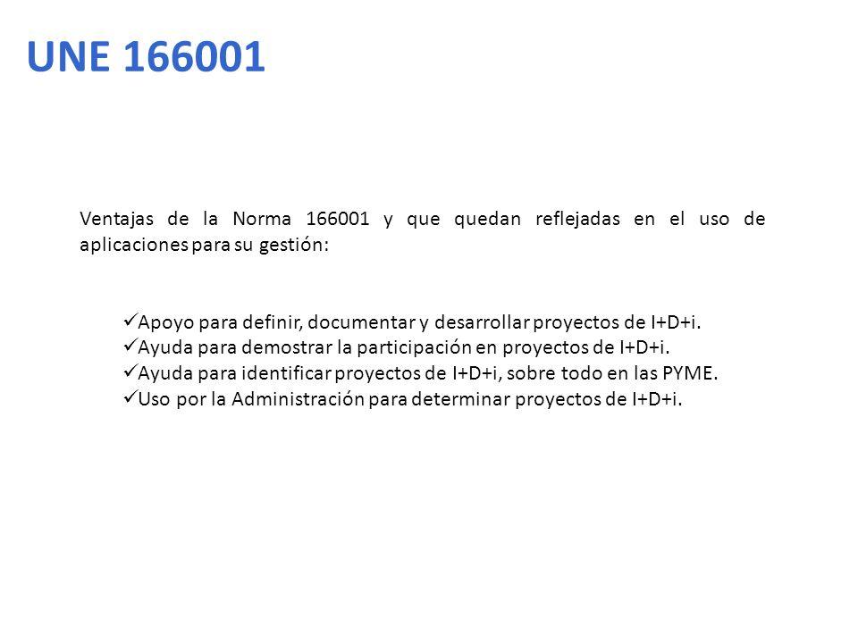 UNE 166001 Ventajas de la Norma 166001 y que quedan reflejadas en el uso de aplicaciones para su gestión: