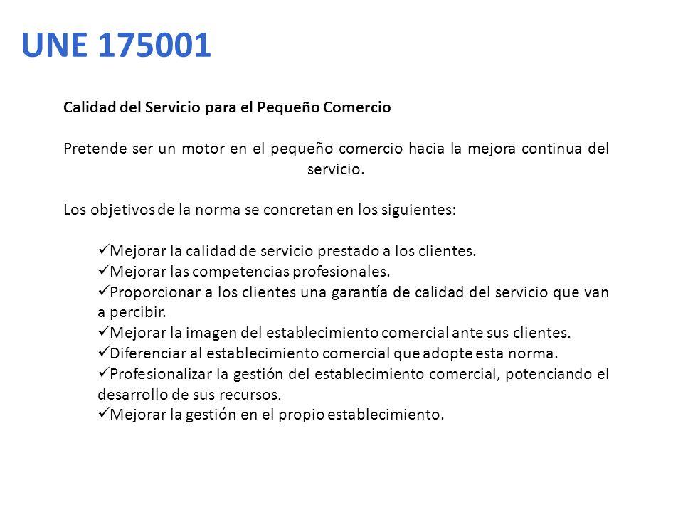 UNE 175001 Calidad del Servicio para el Pequeño Comercio
