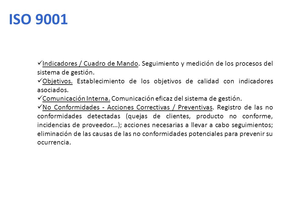 ISO 9001 Indicadores / Cuadro de Mando. Seguimiento y medición de los procesos del sistema de gestión.