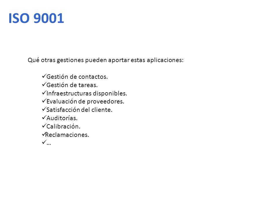 ISO 9001 Qué otras gestiones pueden aportar estas aplicaciones: