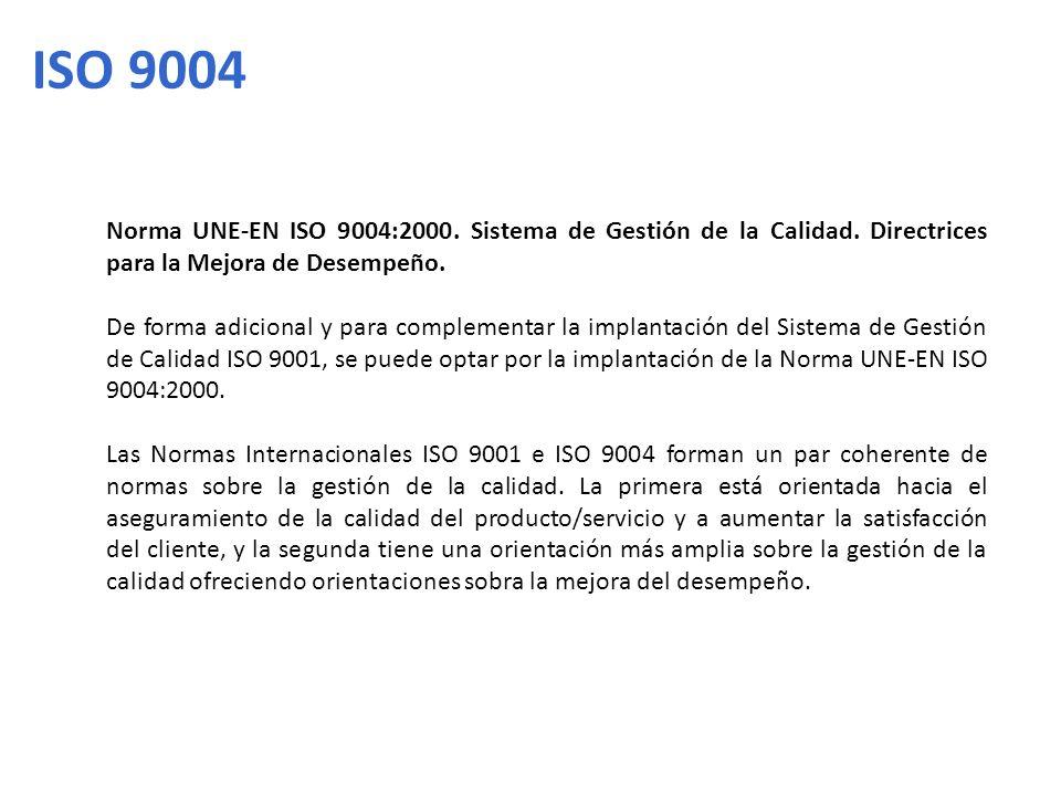 ISO 9004 Norma UNE-EN ISO 9004:2000. Sistema de Gestión de la Calidad. Directrices para la Mejora de Desempeño.