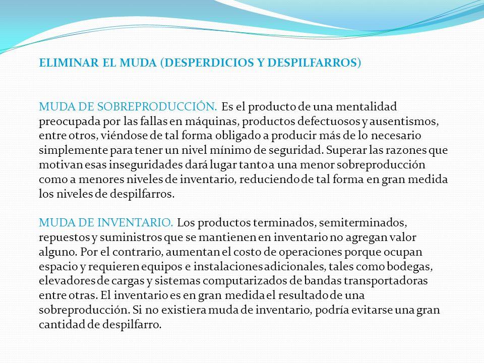 ELIMINAR EL MUDA (DESPERDICIOS Y DESPILFARROS)