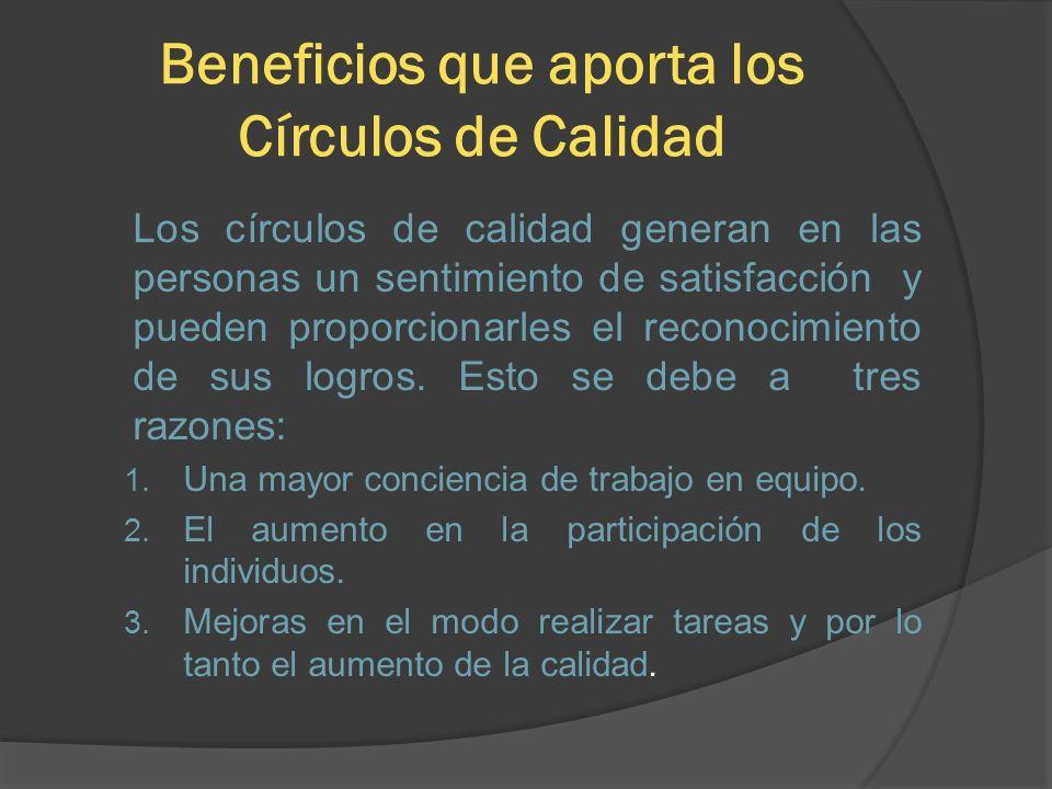 Beneficios que aporta los Círculos de Calidad