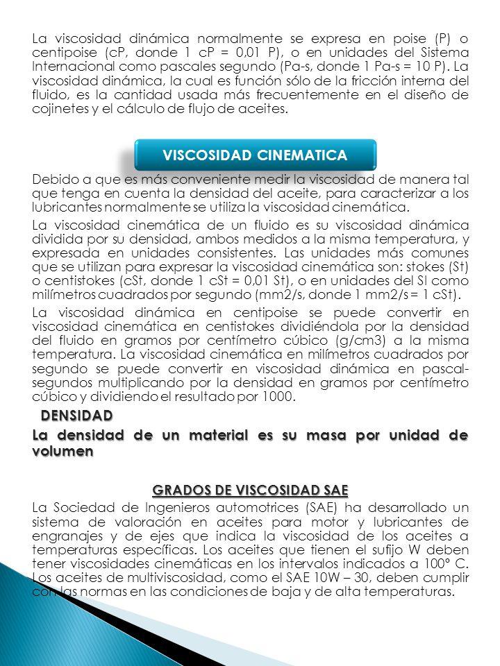 GRADOS DE VISCOSIDAD SAE VISCOSIDAD CINEMATICA