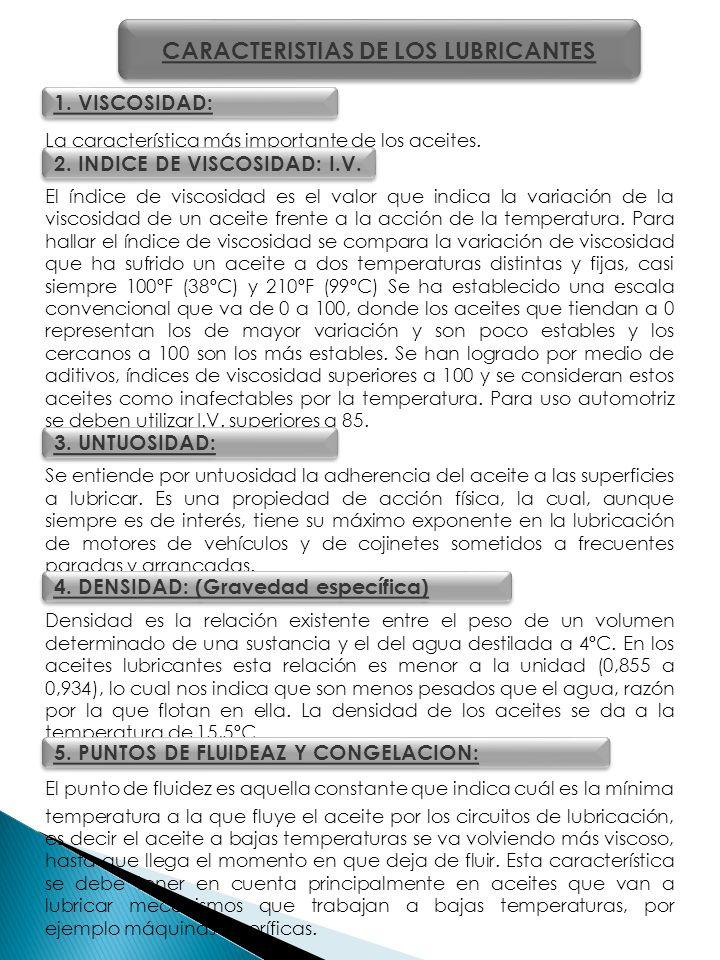 CARACTERISTIAS DE LOS LUBRICANTES