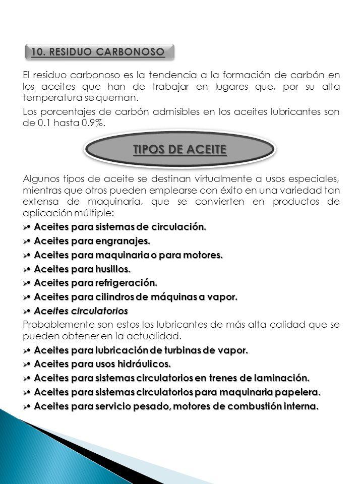 TIPOS DE ACEITE 10. RESIDUO CARBONOSO