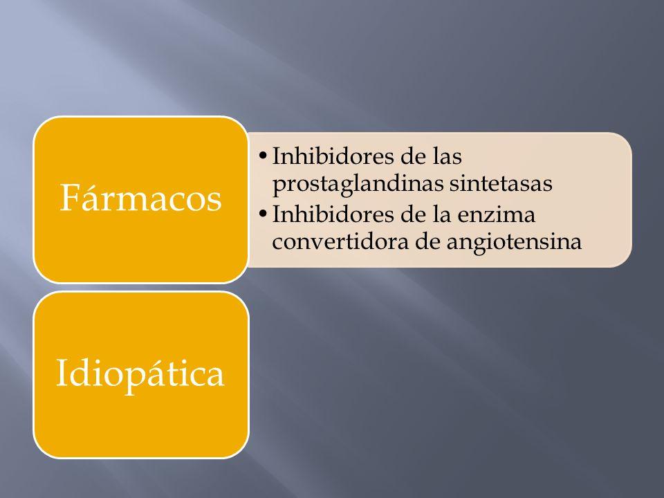 FármacosInhibidores de las prostaglandinas sintetasas. Inhibidores de la enzima convertidora de angiotensina.