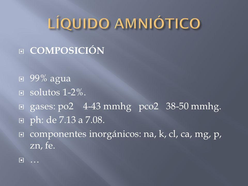 LÍQUIDO AMNIÓTICO COMPOSICIÓN 99% agua solutos 1-2%.
