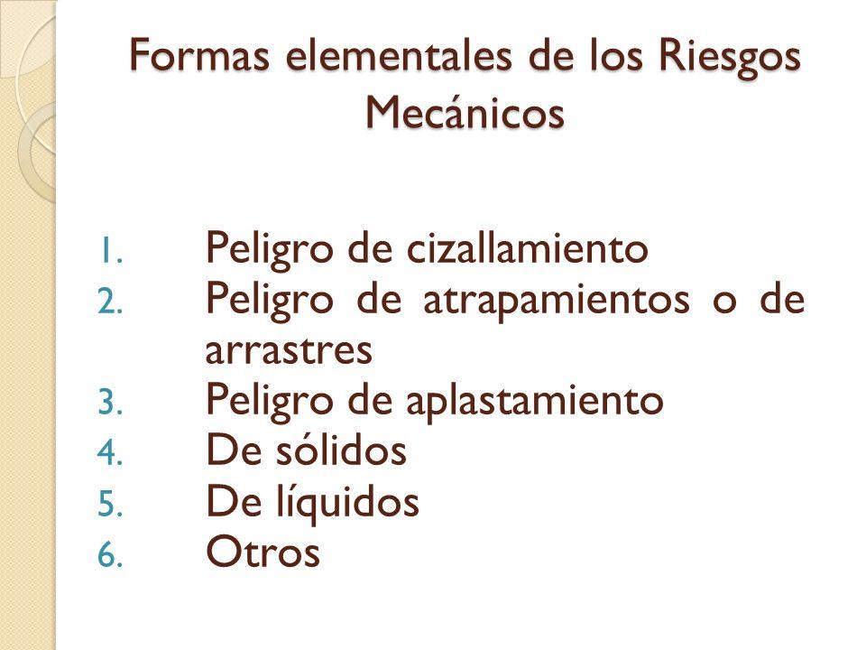 Formas elementales de los Riesgos Mecánicos