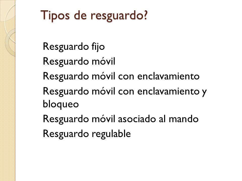 Tipos de resguardo Resguardo fijo Resguardo móvil