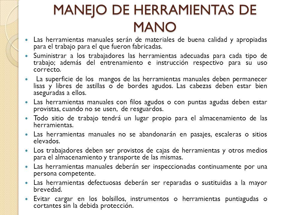 MANEJO DE HERRAMIENTAS DE MANO