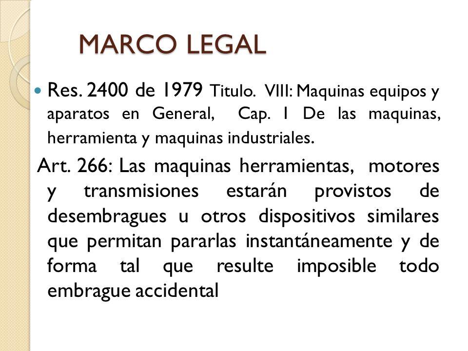 MARCO LEGAL Res. 2400 de 1979 Titulo. VIII: Maquinas equipos y aparatos en General, Cap. 1 De las maquinas, herramienta y maquinas industriales.