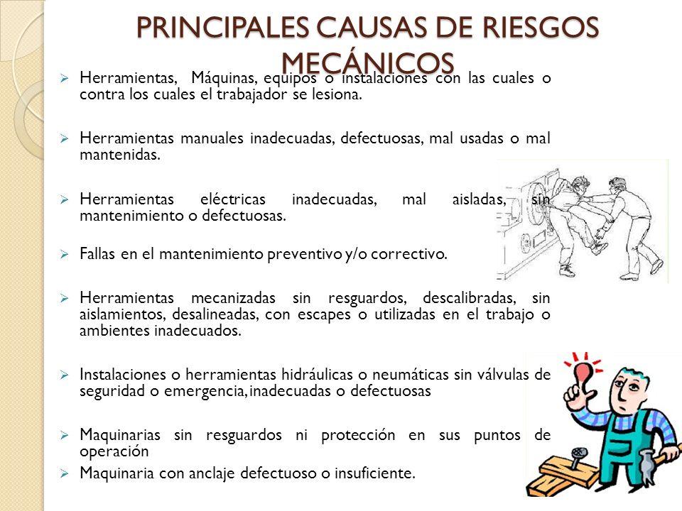 PRINCIPALES CAUSAS DE RIESGOS MECÁNICOS