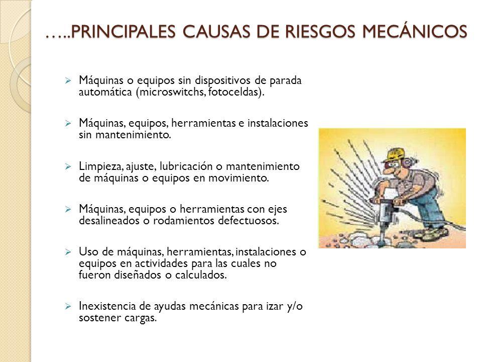 …..PRINCIPALES CAUSAS DE RIESGOS MECÁNICOS