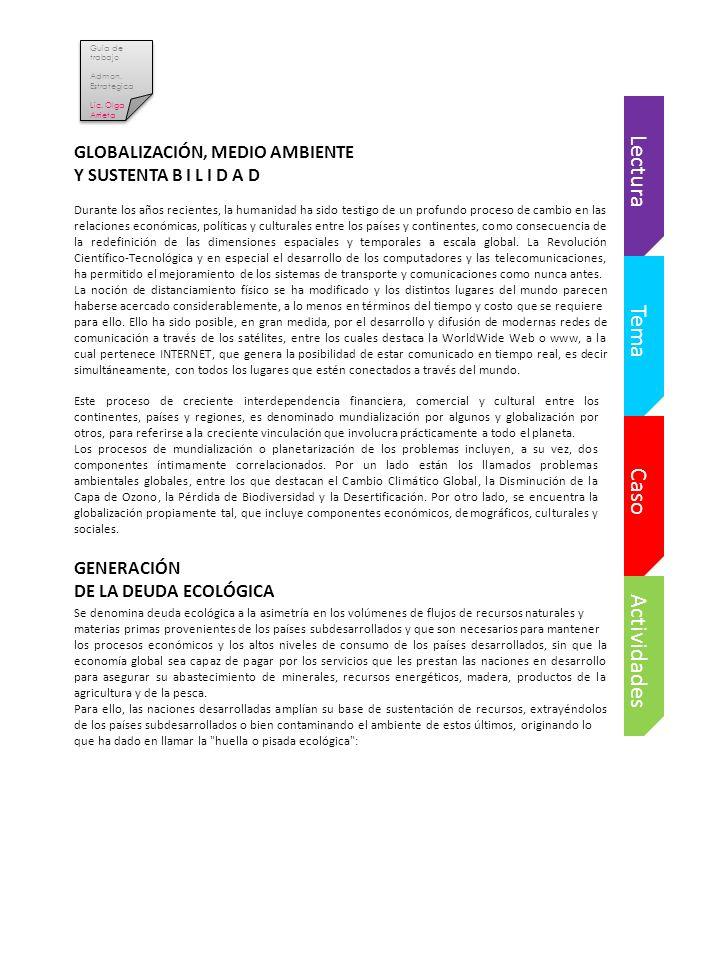 Lectura Tema Caso Actividades GLOBALIZACIÓN, MEDIO AMBIENTE