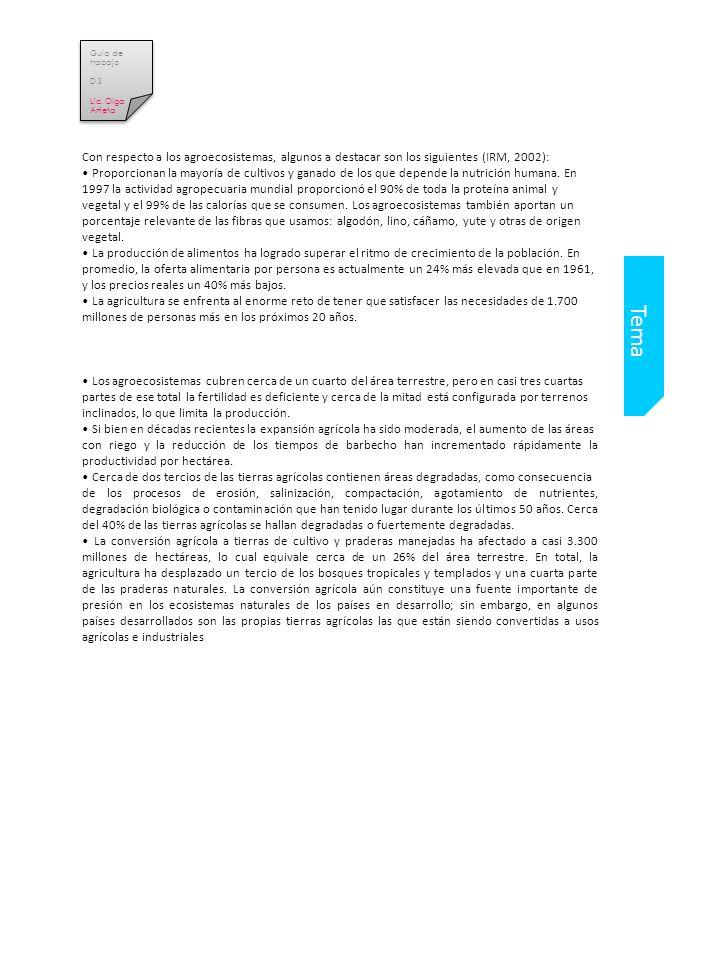 Guia de trabajo D.S. Lic. Olga Arrieta. Con respecto a los agroecosistemas, algunos a destacar son los siguientes (IRM, 2002):