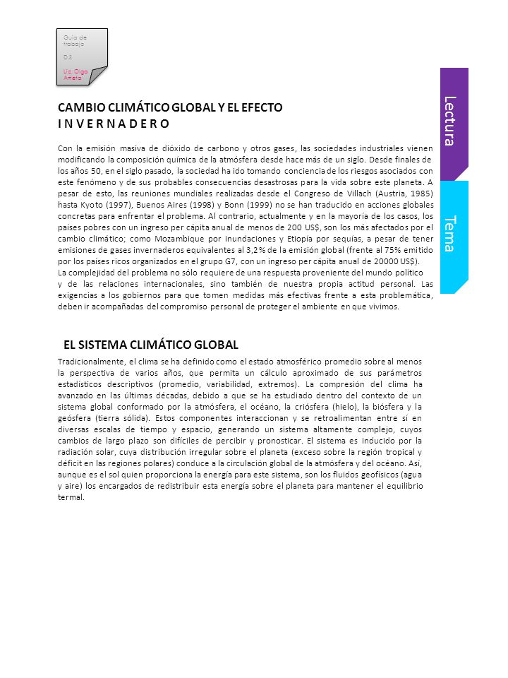 Lectura Tema CAMBIO CLIMÁTICO GLOBAL Y EL EFECTO I N V E R N A D E R O