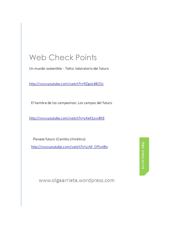Web Check Points www.olgaarrieta.wordpress.com