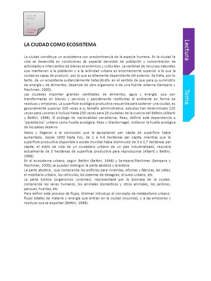 Lectura Tema LA CIUDAD COMO ECOSISTEMA