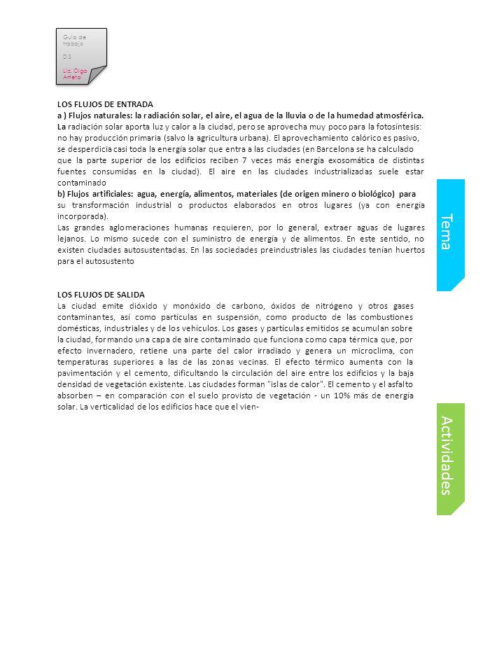 Tema Actividades LOS FLUJOS DE ENTRADA
