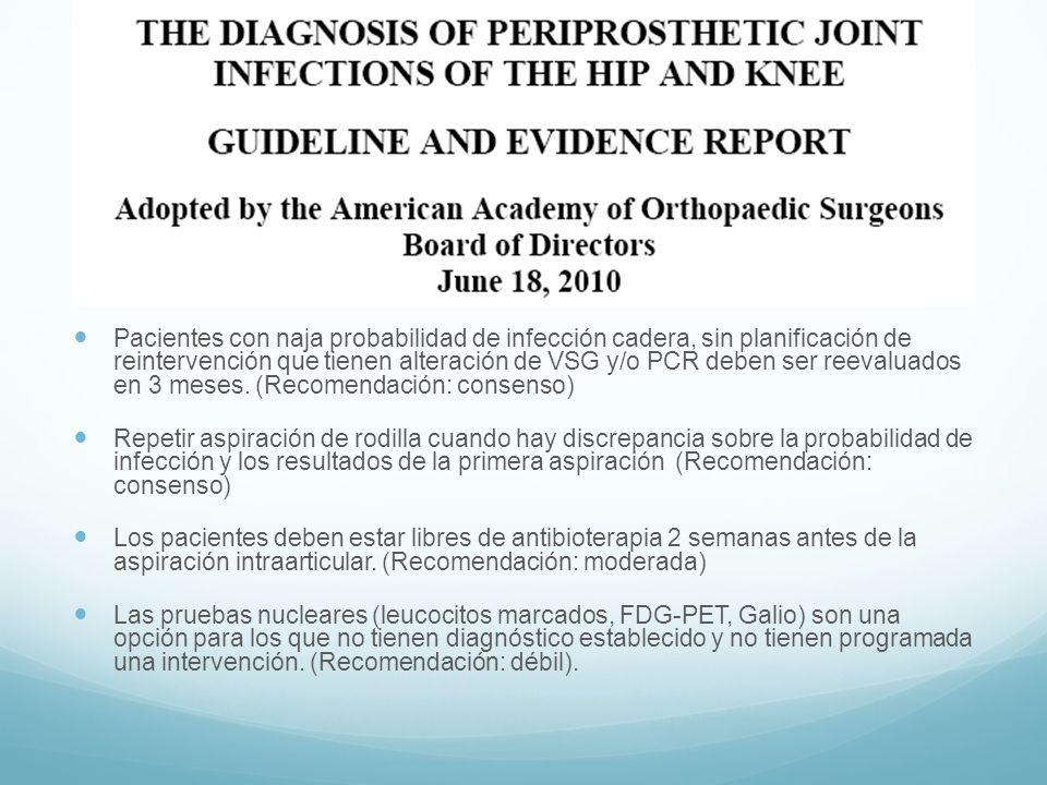 Pacientes con naja probabilidad de infección cadera, sin planificación de reintervención que tienen alteración de VSG y/o PCR deben ser reevaluados en 3 meses. (Recomendación: consenso)