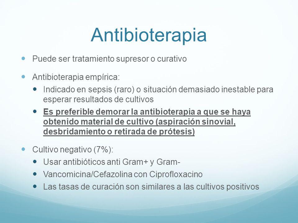 Antibioterapia Puede ser tratamiento supresor o curativo