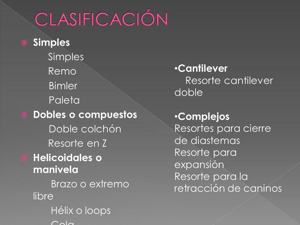 CLASIFICACIÓN Simples Remo Bimler Cantilever Paleta