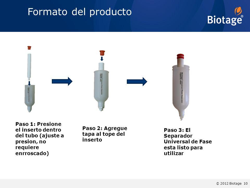 Formato del producto Paso 1: Presione el inserto dentro del tubo (ajuste a presion, no requiere enrroscado)