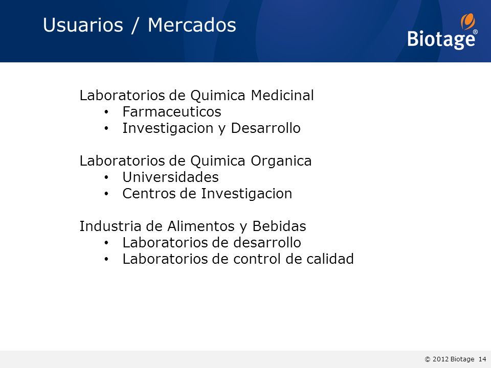 Usuarios / Mercados Laboratorios de Quimica Medicinal Farmaceuticos
