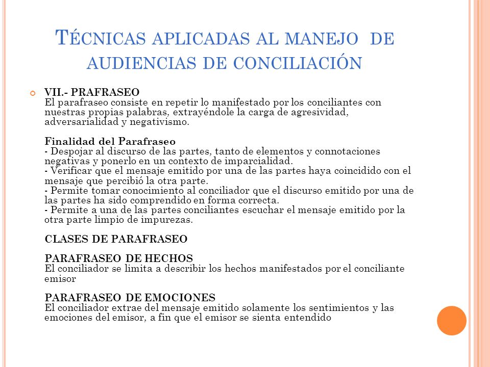 Técnicas aplicadas al manejo de audiencias de conciliación