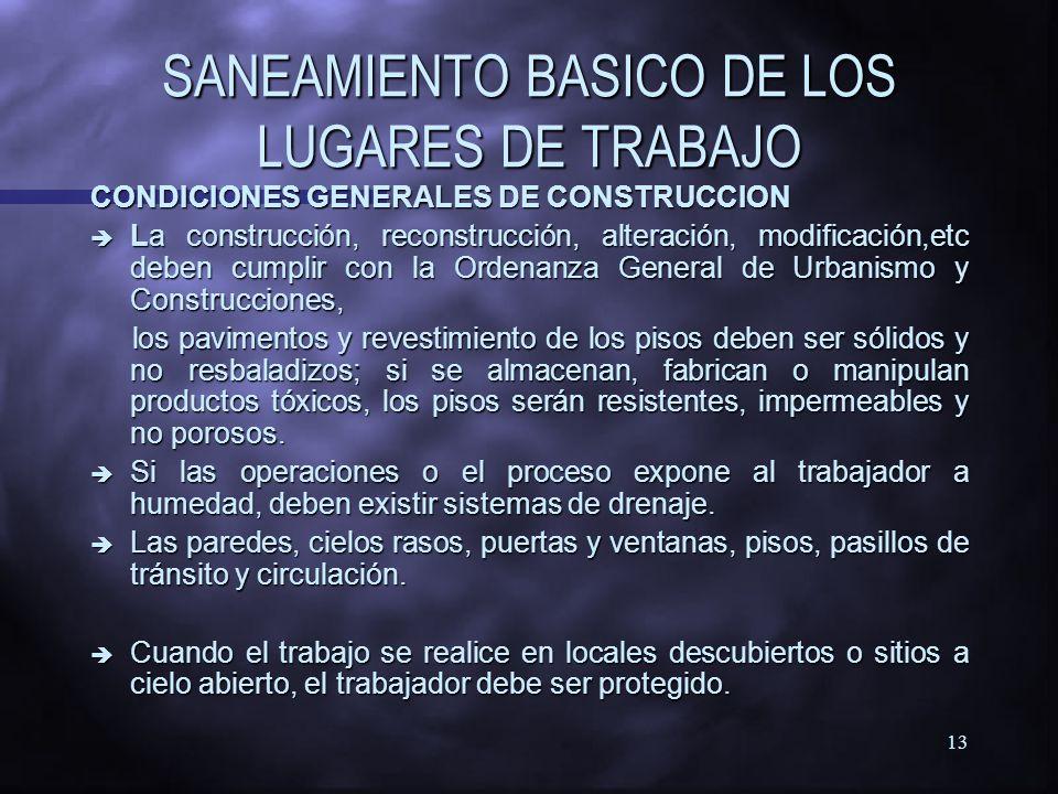 SANEAMIENTO BASICO DE LOS LUGARES DE TRABAJO